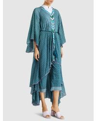 Talitha - Blue Draped Printed Chiffon Robe - Lyst