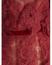 Costarellos - Red Peplum Long-sleeved Lace Gown - Lyst