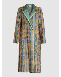 Forte Forte Blue Flower Print Collared Jacquard Coat
