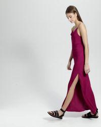 Theory - Pink Silk Draped Back Maxi Dress - Lyst