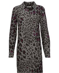 Equipment Gray Lucida Leopard-print Washed-silk Mini Dress
