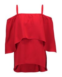 Tanya Taylor Red Ione Crepe Top