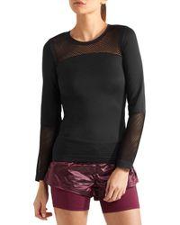 Adidas By Stella McCartney Mesh-paneled Climalite Stretch Top Black