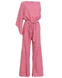 Raoul One-shoulder Belted Printed Stretch-crepe Jumpsuit Pink