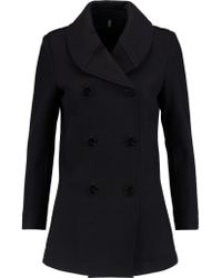 Helmut Lang - Blue Leather-trimmed Wool Coat - Lyst