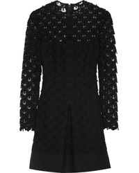 Valentino Black Appliquéd Guipure Lace Wool And Silk-blend Mini Dress
