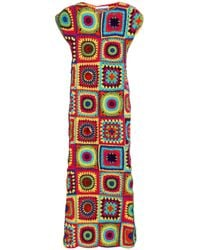 Moschino Multicolor Embellished Crocheted Midi Dress