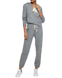 Splendid - Gray Lace-up Cotton-blend Terry Hooded Sweatshirt - Lyst
