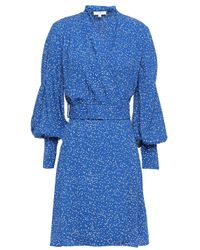 Equipment Belted Printed Crepe De Chine Mini Wrap Dress Royal Blue