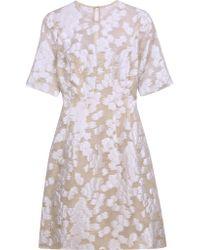 Lela Rose White Fil Coupé Dress