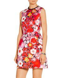 Victoria, Victoria Beckham - Pink Floral-print Satin Mini Dress - Lyst