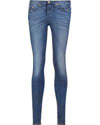7 For All Mankind Blue The Skinny Mid-rise Whiskered Jeans