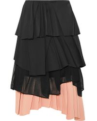Cedric Charlier - Black Pleated Satin, Cotton-blend Poplin, Mesh And Crepe Skirt - Lyst