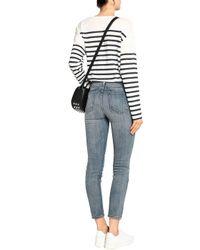 Current/Elliott Blue Distressed Skinny Jeans Mid Denim