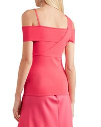 Jason Wu - Pink Cold-shoulder Asymmetric Stretch-knit Top - Lyst