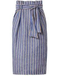 Gabriela Hearst Striped Linen Midi Pencil Skirt Blue