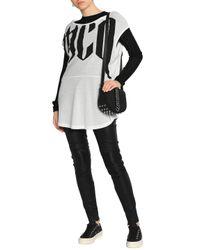 McQ Alexander McQueen White Draped Printed Slub Cotton-jersey T-shirt