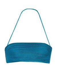 La Perla - Blue Ribbed Stretch-satin Bandeau Bikini Top - Lyst