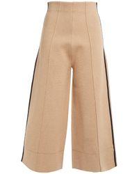 Victoria, Victoria Beckham Natural Cropped Striped Stretch-knit Wide-leg Pants Sand