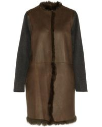 Yves Salomon Reversible Shearling, Leather, Wool, And Cashmere Coat Army Green