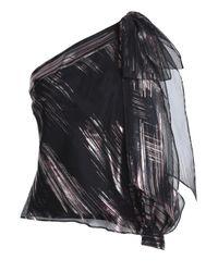 MILLY Woman Nina One-shoulder Metallic Silk-blend Organza Top Black