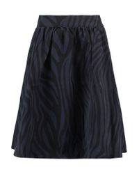 Ganni Blue Huntington Patterned Cotton-canvas Skirt