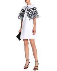 Victoria, Victoria Beckham Woman Embroidered Piqué-cotton Mini Dress White