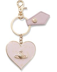 Vivienne Westwood Anglomania - Purple Metallic Gold-tone Enamel And Leather Keychain - Lyst