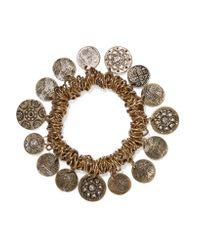 Kenneth Jay Lane | Metallic Crystal-embellished Burnished Gold-tone Charm Bracelet | Lyst