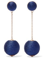 Kenneth Jay Lane | Blue Gold-tone Cord Earrings | Lyst