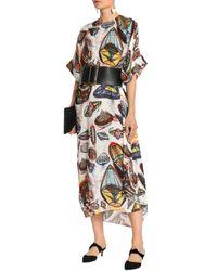 Christopher Kane White Printed Plissé Silk Midi Dress