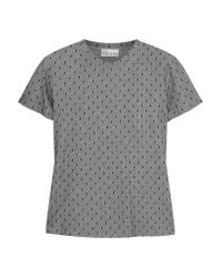 RED Valentino Gray Layered Swiss-dot Tulle And Cotton T-shirt