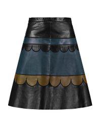 RED Valentino | Black Paneled Leather Skirt | Lyst