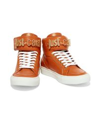 Just Cavalli - Orange Leather High-top Sneakers - Lyst