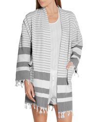 Skin Gray Tasseled Striped Cotton Robe