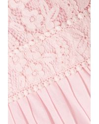 Temperley London Lunar Guipure Lace And Pleated Cotton-blend Maxi Dress Pastel Pink