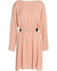Theory Pink Pleated Silk-satin Dress Antique Rose