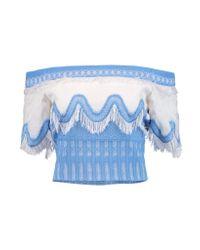Jonathan Simkhai Blue Off-the-shoulder Fringed Cotton And Silk-blend Matelassé Top
