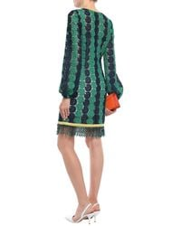 Emilio Pucci Bead-embellished Guipure Lace Mini Dress Forest Green