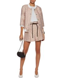 3.1 Phillip Lim Multicolor Leather-trimmed Pleated Tweed Shorts
