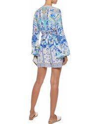 Camilla Blue Wrap-effect Crystal-embellished Floral-print Silk Crepe De Chine Playsuit