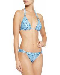 Melissa Odabash - Blue Grenada Embellished Snake-print Triangle Bikini - Lyst