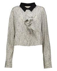 Marni - Gray Cropped Printed Stretch-silk Shirt - Lyst