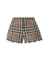 RED Valentino Black Scalloped Houndstooth Wool-blend Bouclé Shorts