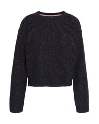 Rag & Bone Metallic Ribbed Merino Wool-blend Sweater Midnight Blue