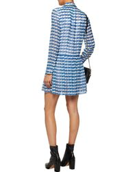 Opening Ceremony Pleated Printed Silk-georgette Mini Dress Bright Blue