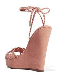 Schutz - Pink Macarena Braided Suede Wedge Sandals Antique Rose Size 7.5 - Lyst