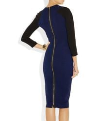 Victoria Beckham Blue Two-tone Silk and Wool-blend Crepe Dress