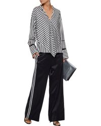 Derek Lam - Woman Layered Open Knit-trimmed Striped Silk Crepe De Chine Blouse Black - Lyst