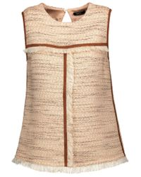 Raoul Brown Fringed Cotton-blend Tweed Top